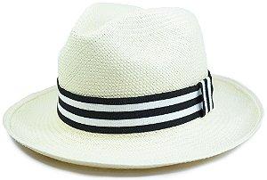 Chapéu Panamá Aba Média Faixa Listrada Preta e Branca Customizada