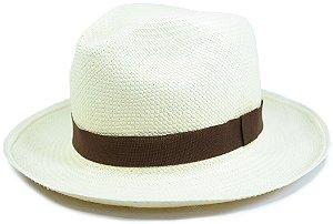 Chapéu Panamá Aba Média Faixa Marrom Custom