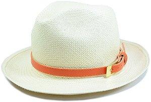 Chapéu Panamá Aba Média Faixa de Cinto Couro Laranja Customizada