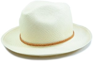 Chapéu Panamá Aba Média Faixa Couro Fino Marrom Trançada Customizada