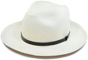 Chapéu Panamá Aba Média Faixa Couro Fino Preto Customizada