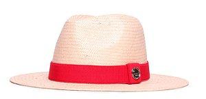 Chapéu Estilo Panamá Bege Aba 7cm Palha Shantung Coleção Elástica
