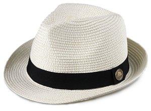 Chapéu Fedora Creme Estilo Panamá Aba Curta 4,5 cm