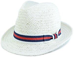 Chapéu Fedora Estilo Panamá Aba Curta Branco Palha Sintética Faixa Listrada Branca Azul Marinho e Vermelha