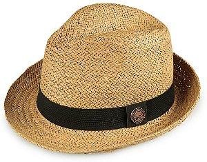 Chapéu Fedora Palha Caramelo Aba Média 5cm
