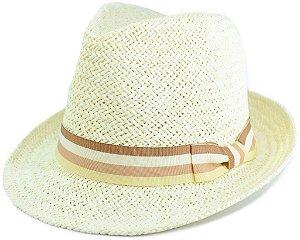 Chapéu Fedora Estilo Panamá Aba Curta Creme Palha Sintética Faixa Listrada Bege Branca Marrom