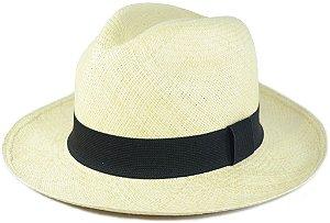 Chapéu Panamá Bege Aba Média Faixa Preta