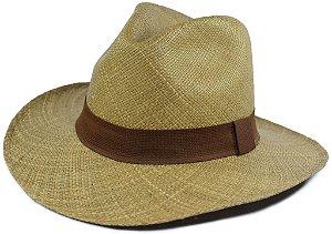 Chapéu Panamá Marrom Aba Grande Faixa Marrom