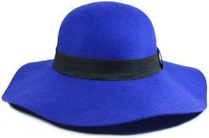 Chapéu Floppy Azul Royal Feltro Aba Grande