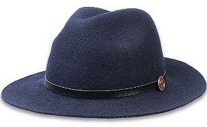 Chapéu Fedora Azul Escuro Aba Maleável 7cm Couro Preto