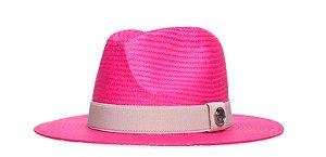 Chapéu Estilo Panamá Rosa Aba 7cm Palha Shantung Coleção Elástica