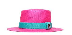Chapéu Palheta Rosa Aba Média 7cm Palha Shantung Coleção Elástica