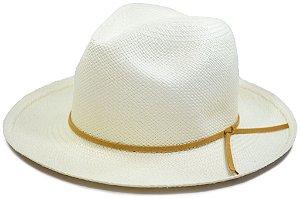 Chapéu Panamá Aba Média Faixa Couro Fino Bege Customizada