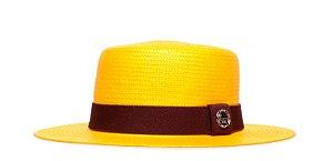 Chapéu Palheta Amarelo Aba Média 7cm Palha Shantung Coleção Elástica
