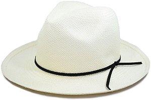 Chapéu Panamá Aba Média Faixa Couro Fino Preta Customizada