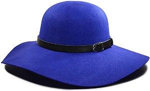 Chapéu Floppy Azul Feltro Aba Grande Faixa Preta Customizada de Couro