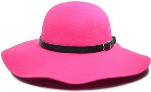 Chapéu Floppy Rosa Pink Feltro Aba Grande Faixa Preta Customizada de Couro