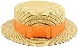 Chapéu de Palha Sintética Palheta Clássico Unissex Faixa Laranja Customizada