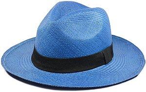 Chapéu Panamá Colorido Azul Aba Média Palha Toquilla