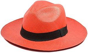 Chapéu Panamá colorido Vermelho Aba Média