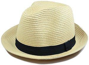 Chapéu Fedora Estilo Panamá Aba Curta Cor Areia Palha Sintética