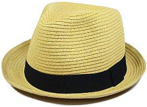 Chapéu Fedora Estilo Panamá Aba Curta Bege Palha Sintética
