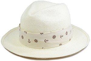 Chapéu Panamá Aba Média Faixa Customizada Bege Âncora Timão