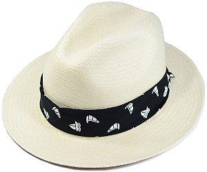 Chapéu Panamá Aba Média Faixa Customizada Preta Barco Vela