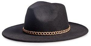 Chapéu Fedora Preto Aba Reta 7cm Feltro Faixa Corrente Dourada