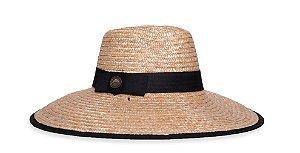 Chapéu de Palha Aba Grande Tecido Preto Com Cordão Faixa Clássica