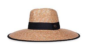 Chapéu de Palha de Trigo Aba Grande Tecido Preto Faixa Clássica