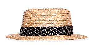 Chapéu Boater Palheta Aba Curta 5cm Palha Dourada Faixa Preta Diamante Coleção Camurça