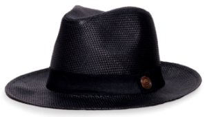 Chapéu Fedora Palha Rígida Preto Aba Levemente Curva 6,5cm Faixa Preta - Coleção Clássico