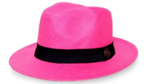 Chapéu Fedora Palha Rígida 6,5cm Rosa Faixa Clássica