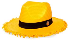 Chapéu Fedora Aba Média 7cm Amarelo Palha Shantung Destroyed Faixa Clássica