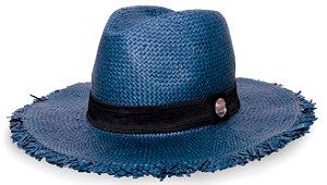 Chapéu Fedora Aba Média 7cm Azul Marinho Palha Shantung Destroyed Faixa Clássica