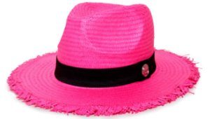 Chapéu Fedora Aba Média 7cm Rosa Palha Shantung Destroyed Faixa Clássica