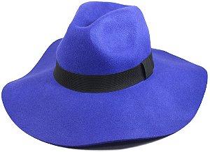 Chapéu Fedora Floppy Feltro Aba Grande Azul