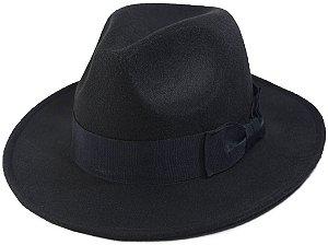Chapéu Fedora Preto Aba Média Clássico Faixa de Laço Tendência