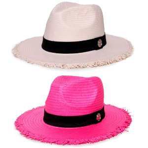 Kit Chapéu Estilo Panamá Aba Média Palha Shantung Creme + Rosa Faixa Clássica