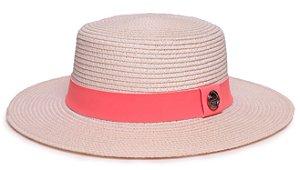 Chapéu Palheta Creme Aba Maleável 7cm Palha Sintética Faixa Rosa Coleção Suede