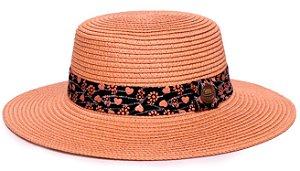 Chapéu Palheta Caramelo Aba Maleável 7cm Palha Sintética Faixa Corações Coleção Nobuck