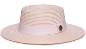 Chapéu Palheta Creme Aba Maleável 7cm Palha Sintética Faixa Branca Coleção Couro