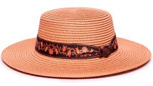 Chapéu Palheta Caramelo Aba Maleável 7cm Palha Sintética Faixa Arabesco I