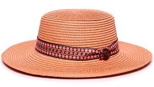 Chapéu Palheta Palha Sintética Caramelo Aba Maleável 7cm Faixa Estampada XXVIII - Coleção Floral