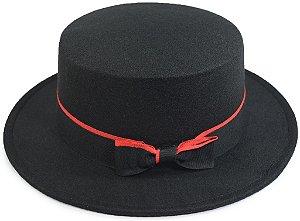 Chapéu Palheta Feltro Preto Clássico Faixa Duas Cores Vermelha e Preta