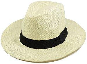 Chapéu Fedora Palha Sintética Estilo Panamá Creme Aba Média  Promoção