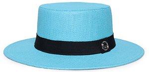 Chapéu Palheta Palha Rígida Azul Claro Aba 7cm Faixa Clássica