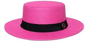 Chapéu Palheta Palha Rígida Rosa Aba 7cm Faixa Clássica