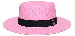 Chapéu Palheta Palha Rígida Rosa Claro Aba 7cm Faixa Clássica